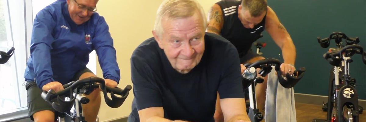 Roy on exercise bike